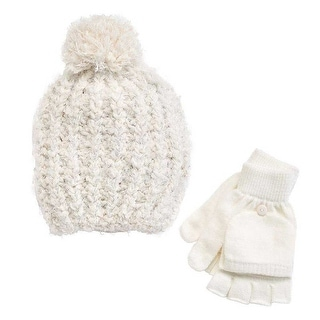 SO Girls Solid Marled Pom Pom Sparkle Hat Fingerless Gloves Set