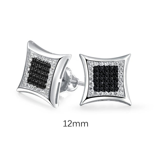 495c3e03d Shop Kite Shaped Black White Cubic Zirconia Micro Pave CZ Screw back Stud  Earring 925 Sterling Silver 12mm - On Sale - Free Shipping On Orders Over  $45 ...