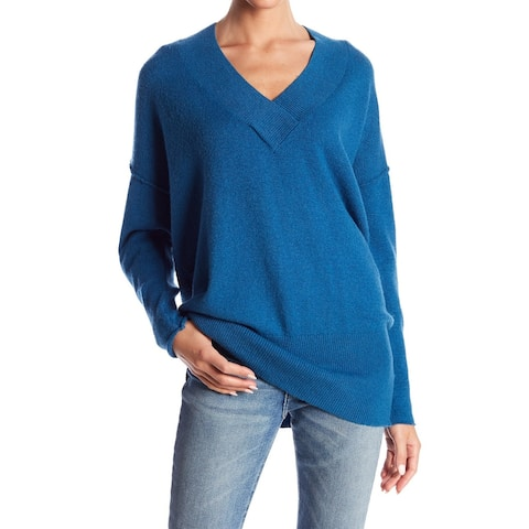 Abound Blue Womens Size Small S Ribbed Trim Knit V-Neck Sweater
