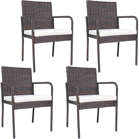 Costway 4 PCS Outdoor Patio Rattan Dining Chairs Cushioned Sofa with