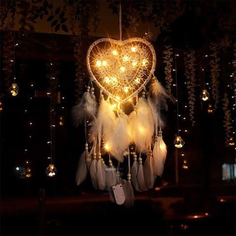 60cm Handmade Creative Dream Catcher Hollow Heart Shape Home Decoration Hanging Ornament with LED Light