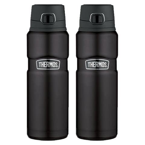 Thermos Vacuum Insulated 24 Oz Stainless King Drink Bottle (Matte Black) 2PK