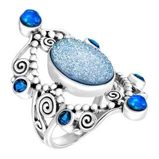 Sajen Natural Pariba Druzy & Opal Quartz Scroll Ring in Sterling Silver - Blue