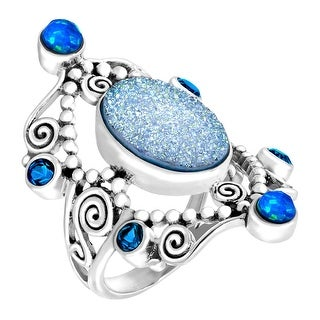 Sajen Natural Pariba Druzy & Opal Quartz Scroll Ring in Sterling Silver - Blue (3 options available)