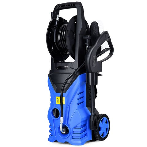 Costway 2030PSI Electric Pressure Washer Cleaner 1.7 GPM 1800W with Hose Reel Blue