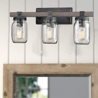 Camogli Vintage Mason Jar Bathroom Vanity Lighting 3-Lights