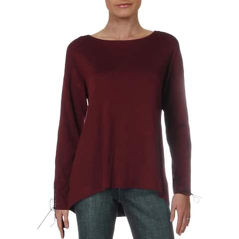 Philosophy Womens Tunic Sweater Lace-Up Cuff Hi-Low - Wild Aubergine - L