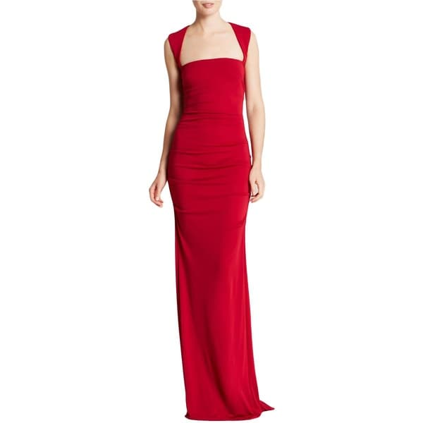 Nicole Miller Womens Evening Dress Ruched Sleeveless