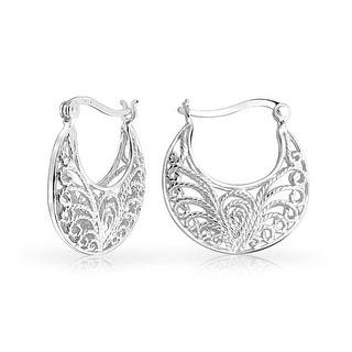 Bling Jewelry Sterling Silver Filigree Rope Hoop Earrings