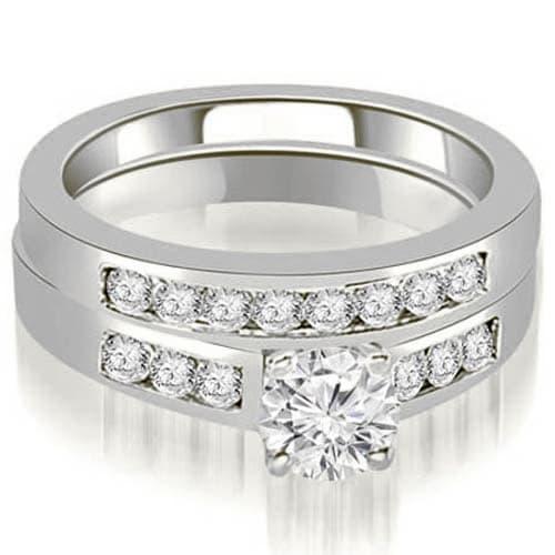 1.00 cttw. 14K White Gold Channel Set Round Cut Diamond Bridal Set