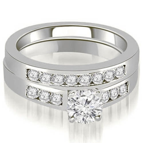 1.25 cttw. 14K White Gold Channel Set Round Cut Diamond Bridal Set,HI,SI1-2