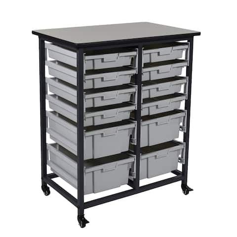 """OF-MBS-DR-8S4L - Offex 37.5"""" Mobile Bin Storage Unit - Double Row with 8 Small Bins, 4 Large Bins"""