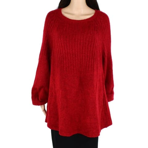 Style & Co Womens Sweater Deep Red Size 3X Plus Solid Stretch Tunic