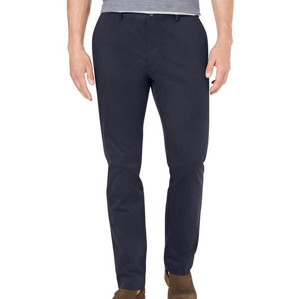 Tasso Elba Mens Chino Pant Navy Blue Size 38X32 Flat-Front Stretch Twill. Opens flyout.