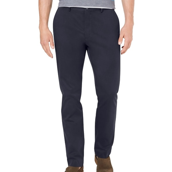 Tasso Elba Mens Chino Pant Navy Blue Size 38x30 Flat Front Stretch Twill. Opens flyout.