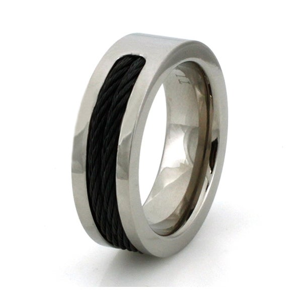 Titanium Ring w/ Dual Black Cable Inlay
