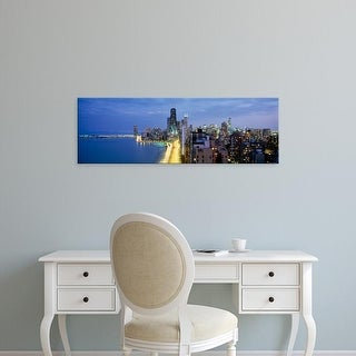 Easy Art Prints Panoramic Images's 'Skyscrapers lit up, Lake Shore Drive, Chicago, Cook County, Illinois' Canvas Art