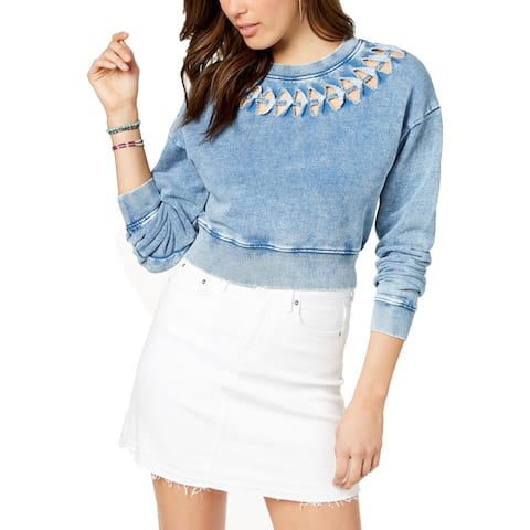 Guess Womens Crop Sweater Cut-Out Three-Quarter Sleeves