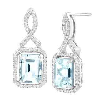 4 3/4 ct Natural Aquamarine & White Topaz Drop Earrings in Sterling Silver - Blue
