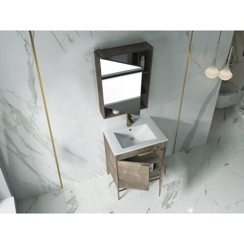 "Alma Bulanka 24"" Bathroom Vanity with Golden Brass Hardware"