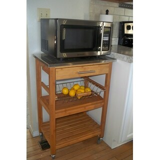 Boraam Aya Bamboo Kitchen Cart with Stainless Steel Top - Free ...