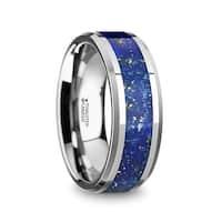 Osias Mens Polished Tungsten Wedding Band With Blue Lapis Inlay Beveled Edges