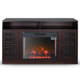 DELLA Home Electric Wood Finished Fireplace TV Stand for TVs up to 50 inches
