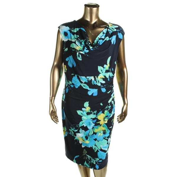 Lauren Ralph Lauren Womens Plus Casual Dress Drape Neck Floral Print