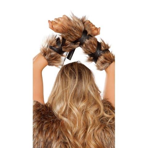 Faux Fur Viking Arm Cuffs - Brown - One Size Fits Most