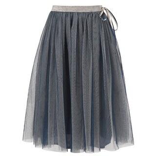 Richie House Little Girls Blue Silver Tulle Ribbon Skirt 3-6