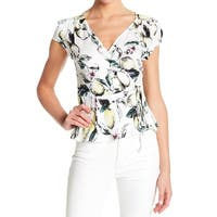 Love Fire White Womens Size Large L Lemon-Print Surplice Knit Top