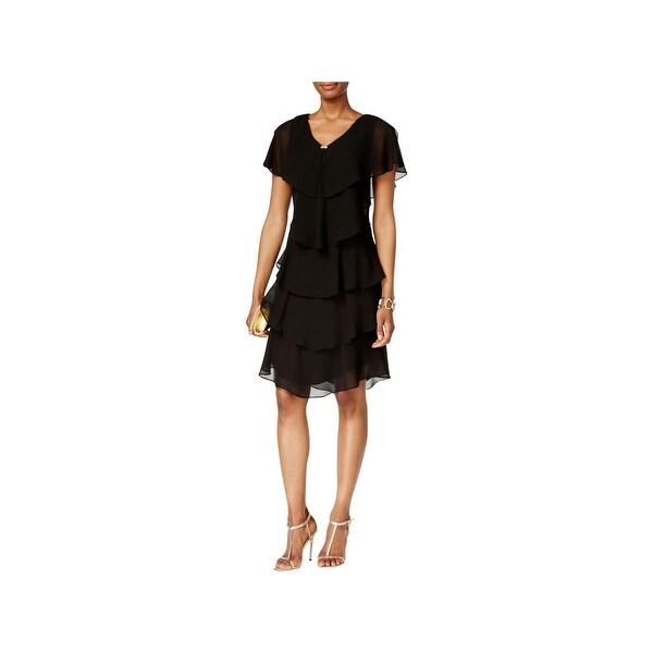 SLNY Womens Capelet Dress Tiered Rhinestone