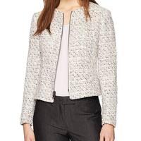Anne Klein Pink Tweed Sequin Women's Size 12 Full-Zip Jacket