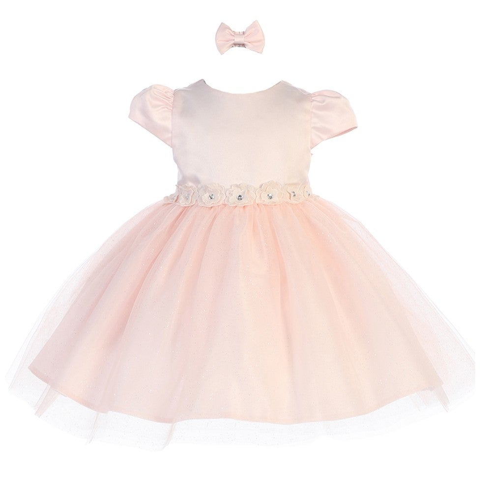 7db5868813 Shop Baby Girls Blush Rhinestone Center Flower Adorned Satin Flower Girl  Dress - Free Shipping On Orders Over  45 - Overstock - 21185769