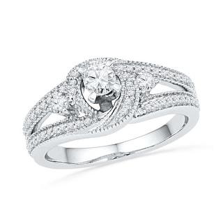 10k White Gold Womens Natural Round Diamond Bridal Wedding Engagement Anniversary Ring 1/2 Cttw