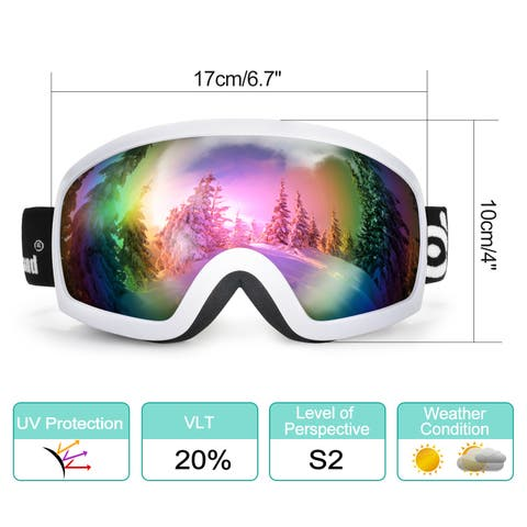 Odoland S2 General OTG Ski Goggles Double Anti-Fog Lenses w/ UV400 Protection for Adult Snowboarding Skating Sledding
