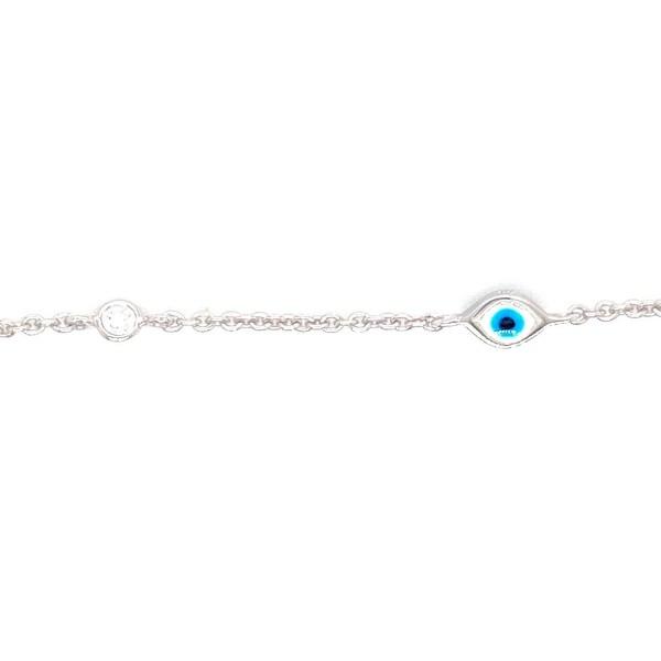 Kabella 14 Karat Gold Diamond and Enamel Evil Eye Bracelet. Opens flyout.