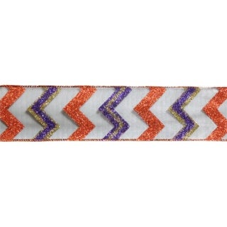 "Pack of 6 Orange and Purple Glitter Wired Floral, Craft and Christmas Ribbons 2.5"" x 10 Yards"