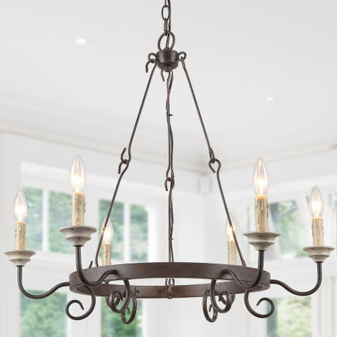 Rustic French Country Antique 6-Light Metal, Wood Candle Chandelier