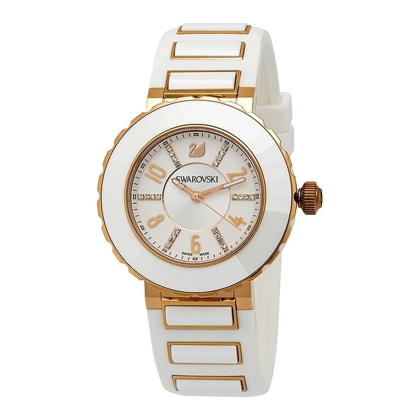 Swarovski New Octea 504055 PVD Rose Gold Plated Silver/White Sport Rubber Watch