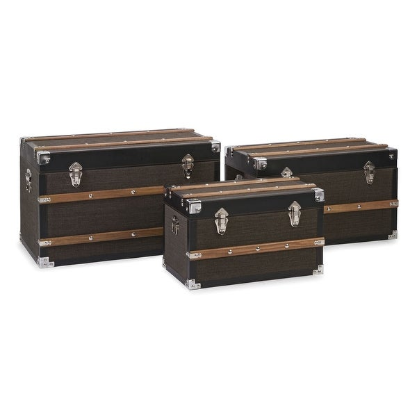 IMAX Home 87644-3 Schultz Three Piece Wood Trunk Set with Pine Wood and Iron Accents - Brown