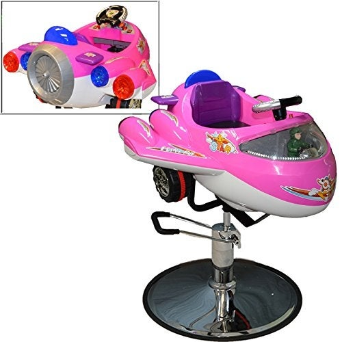LCL Beauty Kid's Pink Airplane Hydraulic Salon Chair