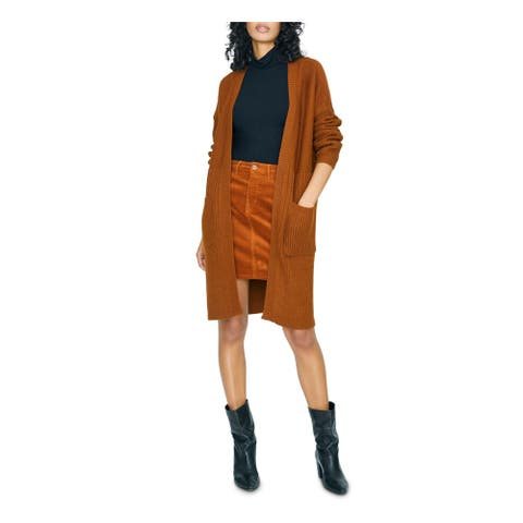 SANCTUARY Womens Brown Long Sleeve Open Cardigan Sweater Size L