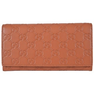 Gucci Women's 346058 TAN Leather GG Guccissima Continental Bifold Wallet