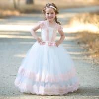 Girls Ivory Pink Vintage Lace Tulle Demi Flower Girl Ball Dress