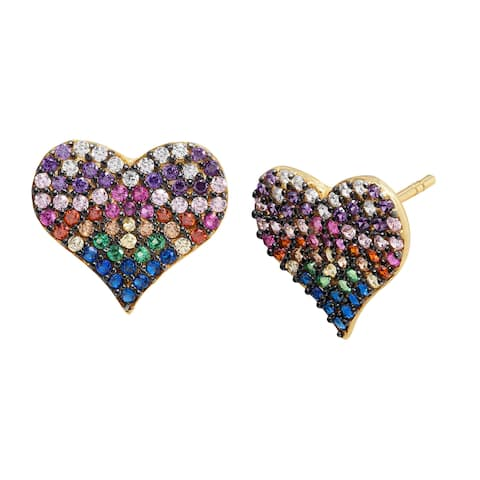 Rainbow Cubic Zirconia Heart Stud Earrings in Gold-Plated Sterling Silver - Multi-Color