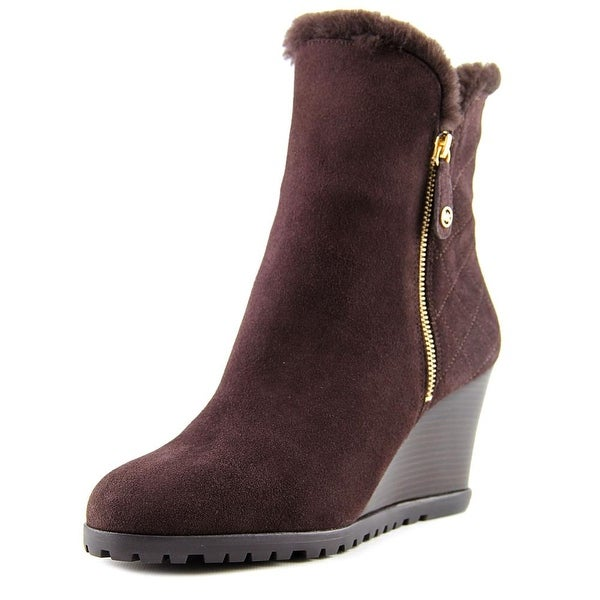 Michael Michael Kors Whitaker Wedge Boot Women Round Toe Suede Brown Ankle Boot