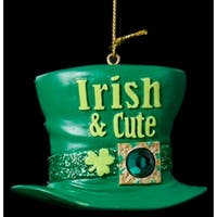"3"" Luck of the Irish Glittered Green Top Hat ""Irish & Cute"" Christmas Ornament"