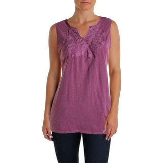 Lucky Brand Womens Slub Embroidered Casual Top