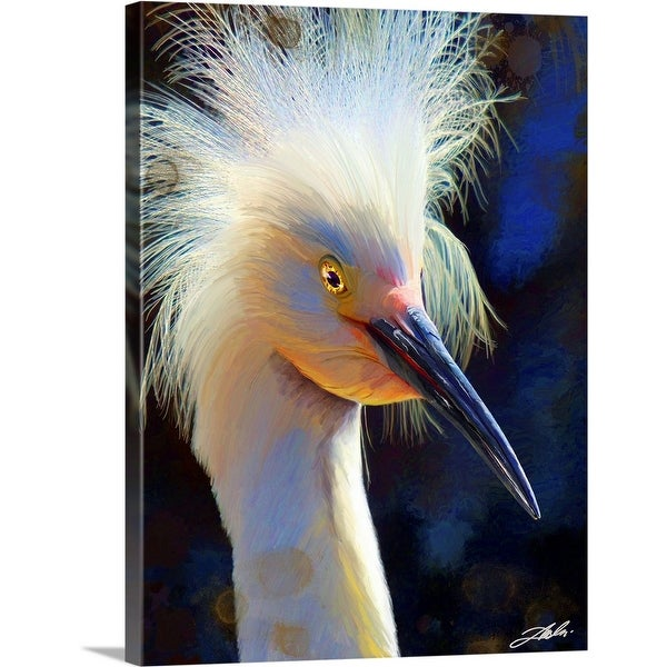 """Black lit Egret"" Canvas Wall Art"